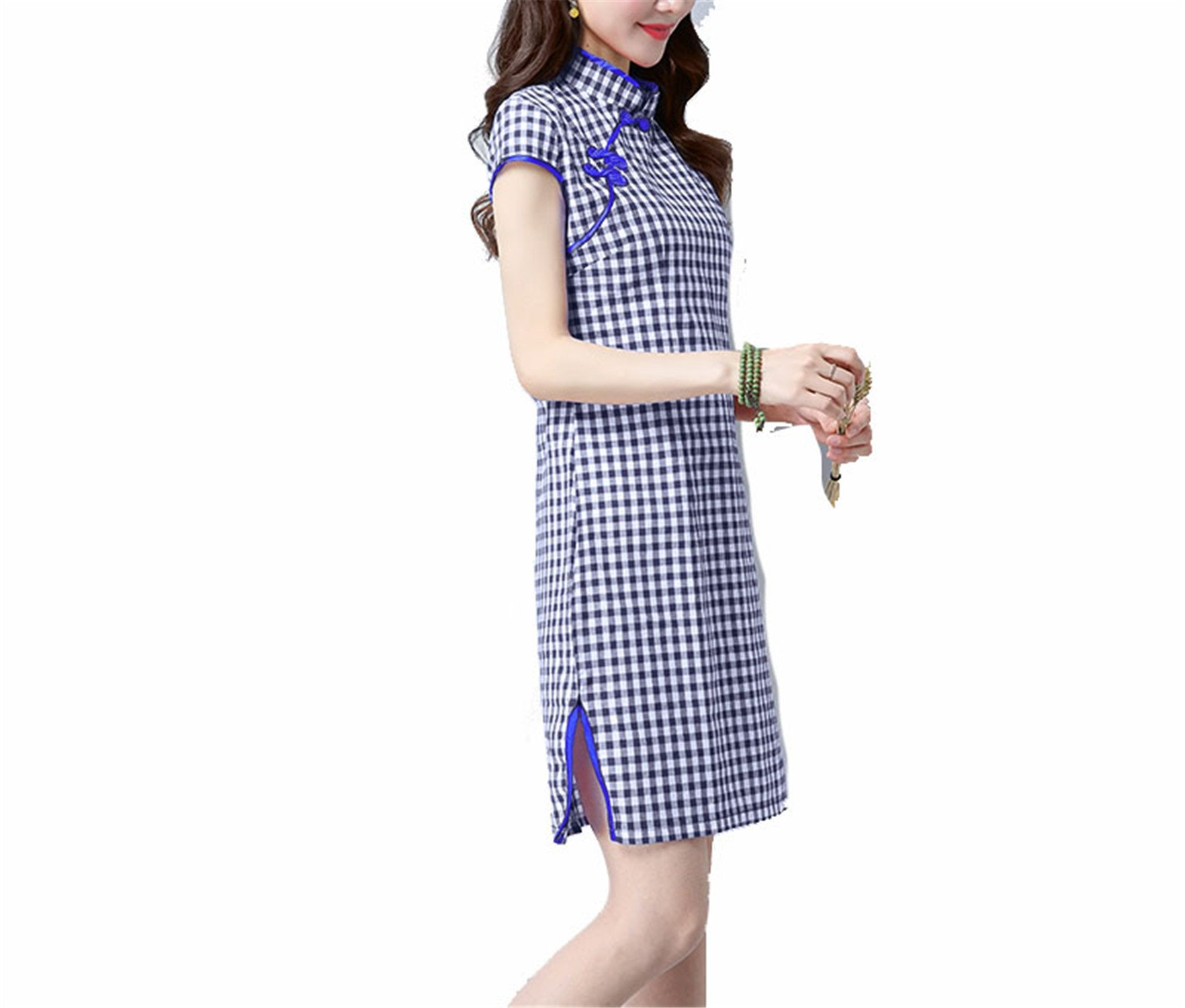 Coac3 Blue Chinese Women's Satin Cheongsam Qipao Dress Cheongsam Dress Chinese Traditional Dress Color2 L