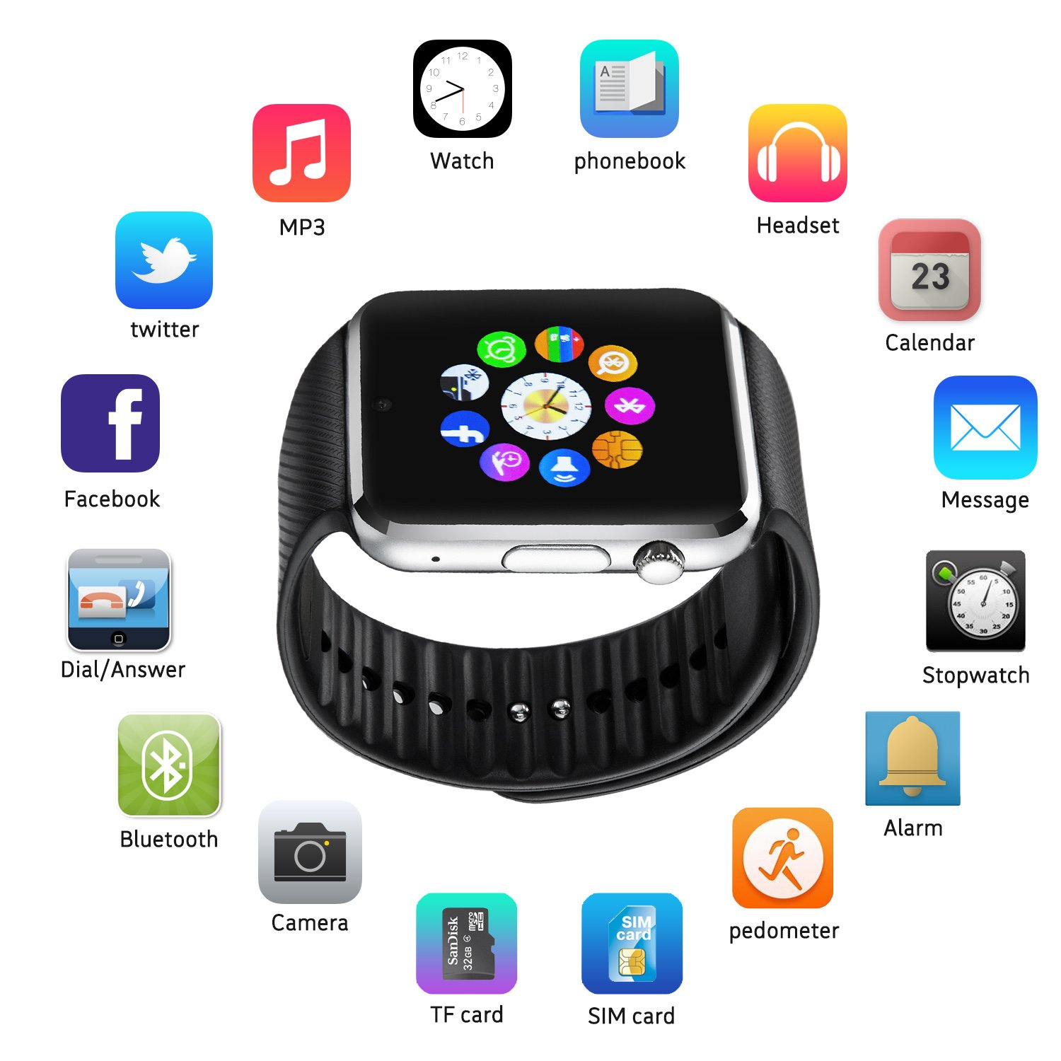 Image result for Fantime All In One Bluetooth Smart Watch Black