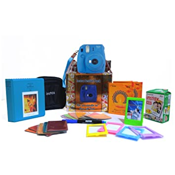 Fujifilm Instax Mini 9 Cobalt Blue Festive Pack Instant Camera (Blue) Instant Cameras at amazon