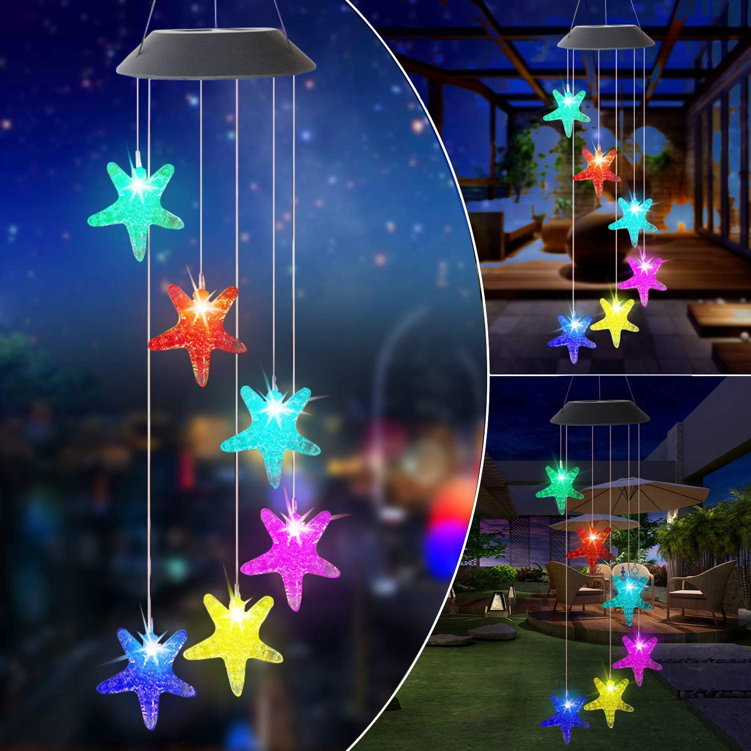 ZXICH Wind Chimes Outdoor Solar,Starfish Color Changing LED Mobile Wind Bell,Waterproof Hanging Patio Light Outdoor Decoration for Home Party Yard Porch Garden Best Gifts for Birthday Mother's Day