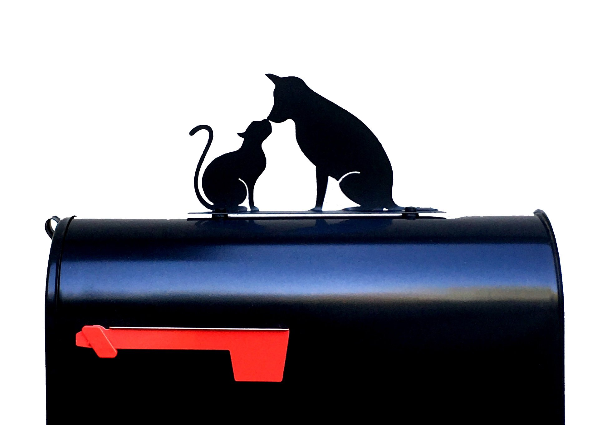 Cat and Dog Kissing Silhouette Mailbox Topper/Sign
