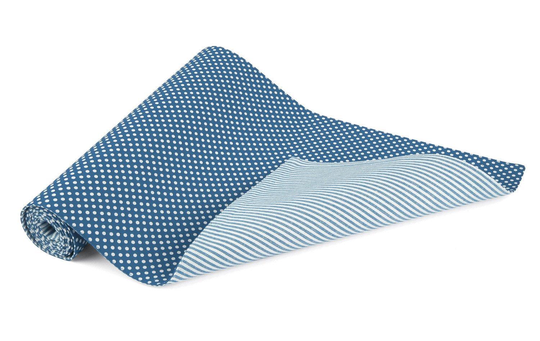 Ladelle Spots /& Stripes Blue Table Runner