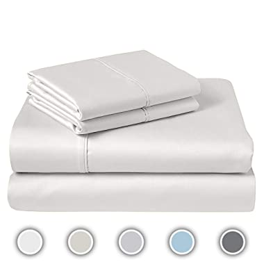 COZERI 600 Thread Count Luxury Sheet Set, Cotton, Breathable, Soft & Silky Sateen Weave, Fits Mattress Upto 17  Deep Pockets, 4 Piece Bed Sheets Set - (Queen, White)
