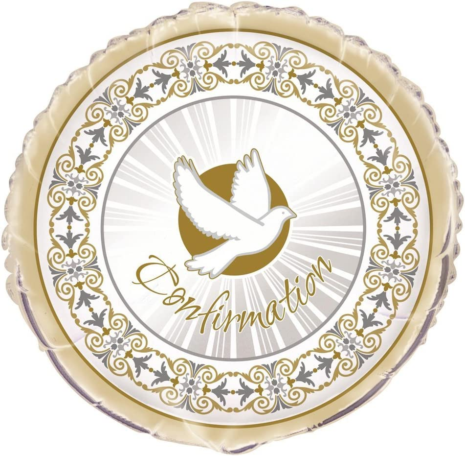 "18"" Foil Gold & Silver Radiant Cross Confirmation Balloon"