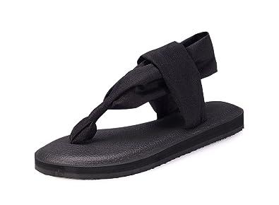 7e8051a06a43b Santiro Black Yoga Sandals for Women Flat Thongs Sling Flip Flops  Lightweight Slingback Flip-Flops