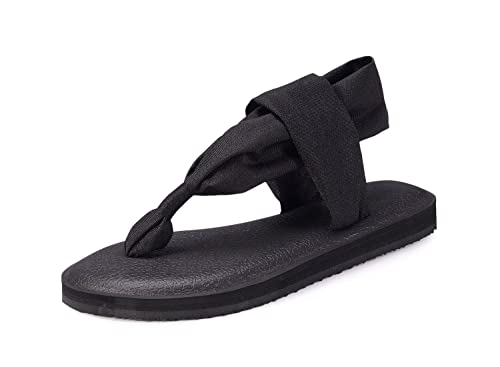 1fd9efd89bda Santiro Black Yoga Sandals for Women Flat Thongs Sling Flip Flops  Lightweight Slingback Flip-Flops