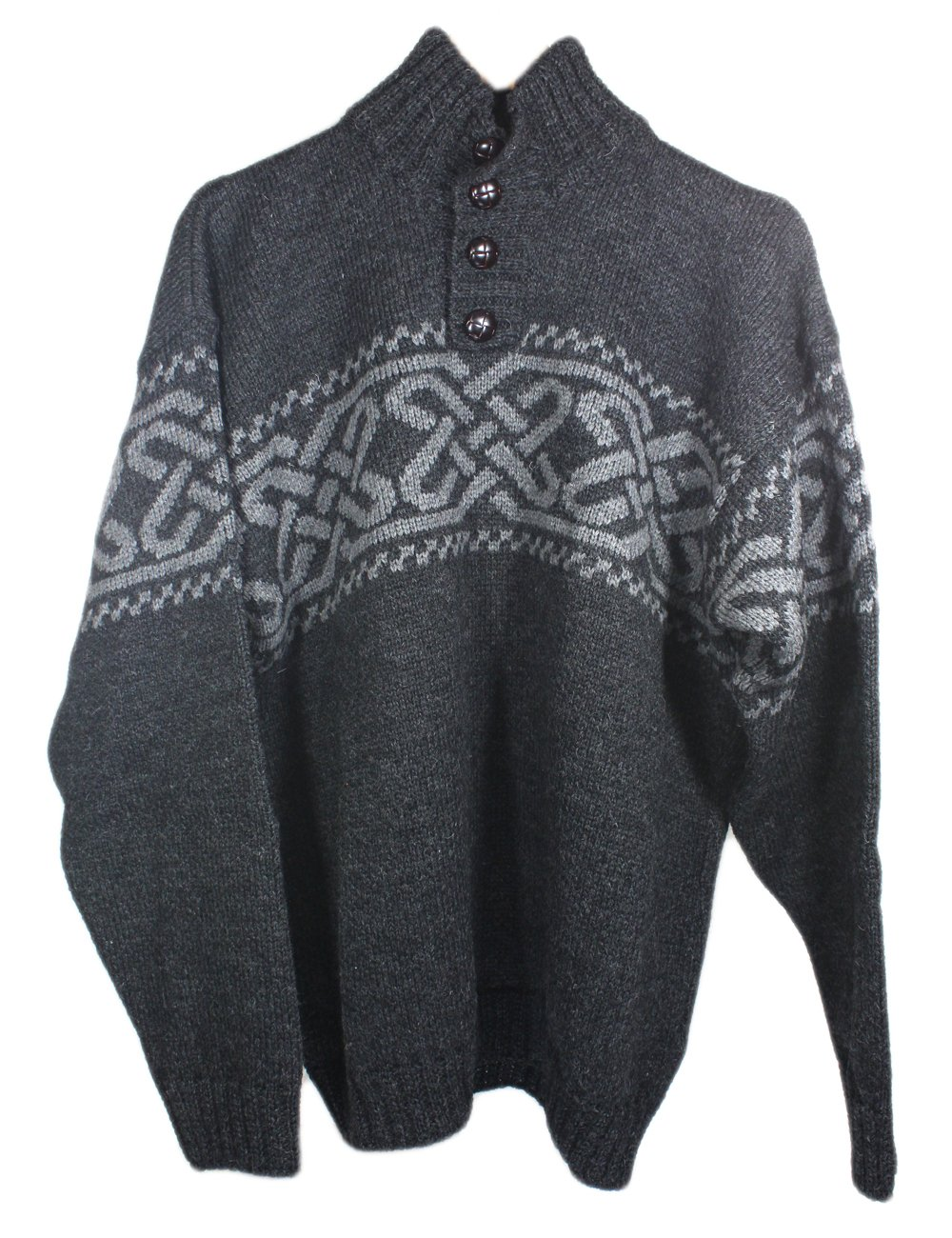Carraig Donn Men's 100% Irish Merino Wool Sweater with a Trinity Knot Design, Charcoal, Large