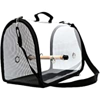 Bird Carrier Cage Transparent Breathable Travel Bag for Parrots Portable Lightweight Black&Red Colors Available Soft-Sided Pet Carrier for Pet Birds