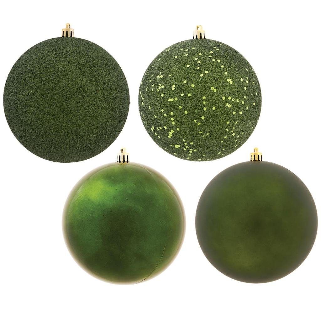 Vickerman 488324 - 12'' Moss Green 4 Assorted Finishes Ball Christmas Tree Ornament (Set of 4) (N593064DA)
