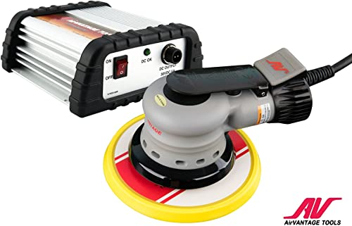 AirVANTAGE 6 Palm-Style, Industrial-Grade Electric Sander Kit with Power Supply Non-Vacuum- 3 32 Orbit Low-Profile PSA Vinyl Pad