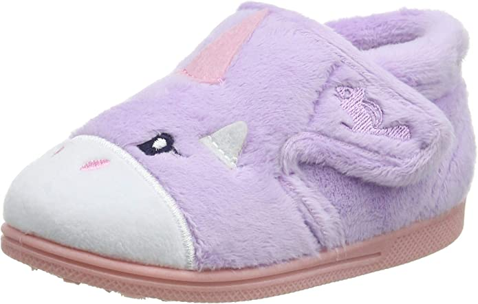 Chipmunks Unicorn Girls Lavendar Slipper size uk kids children hook loop