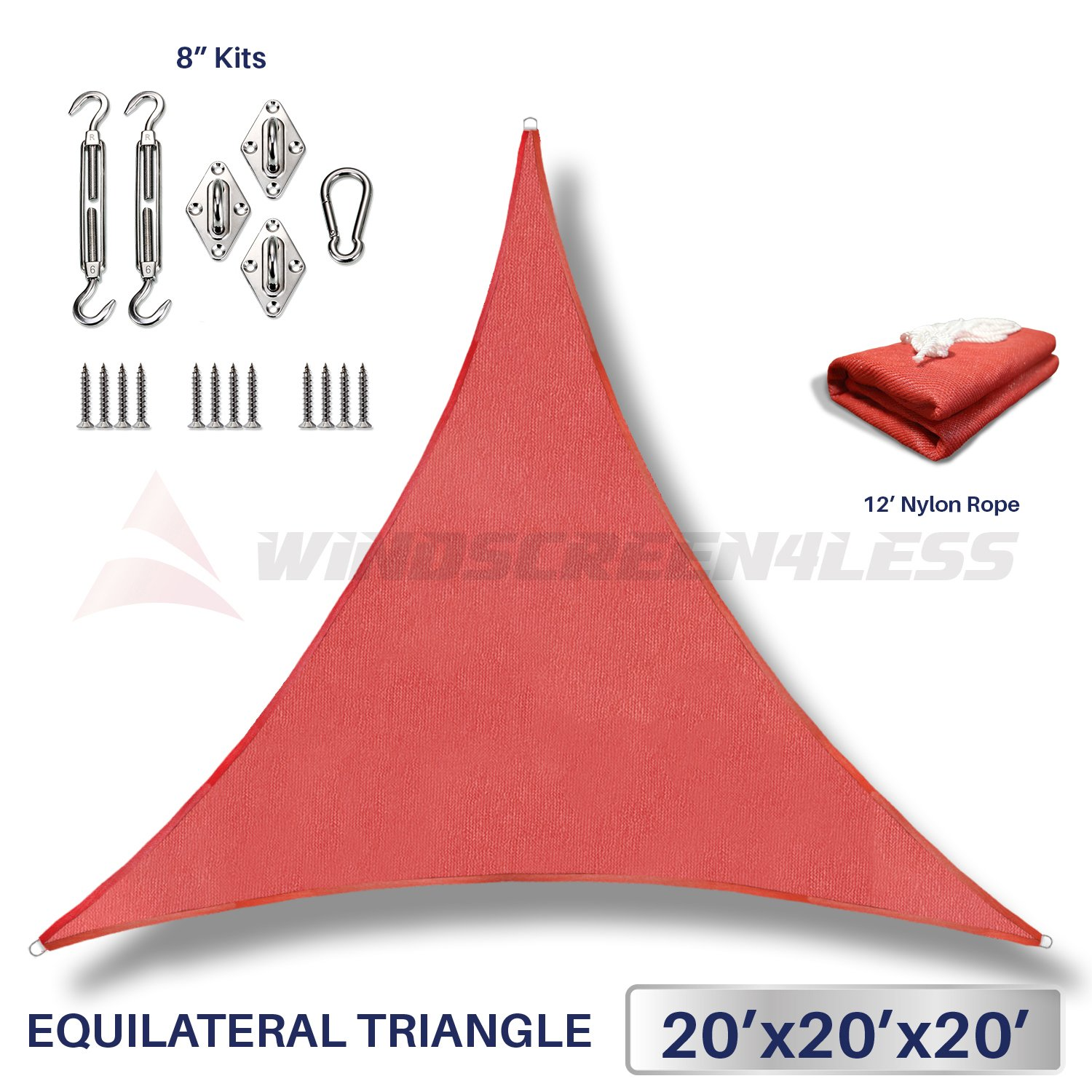Windscreen4less 20 x 20 x 20 Equilateral Triangle Sun Shade Sail with 8 inch Hardware Kit – Rust Red Durable UV Shelter Canopy for Patio Outdoor Backyard – Custom