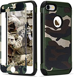 LCHULLE For iPhone 5 iPhone 5S iPhone SE 2016 Camo Case [With Tempered Glass Screen Protector] Military Grade Armor Hybrid Phone Case Camouflage Design Heavy Duty Tough Rugged Case for Boys Men, Green