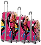 Rockland Luggage Vision Polycarbonate 3 Piece Luggage Set, Love, One Size, Bags Central