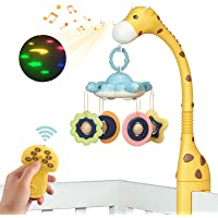 TUMAMA Remote Control Giraffe Baby Crib Mobiles with Projection Lights and Music,Volume Up or Down,Sleeping,Piano and…