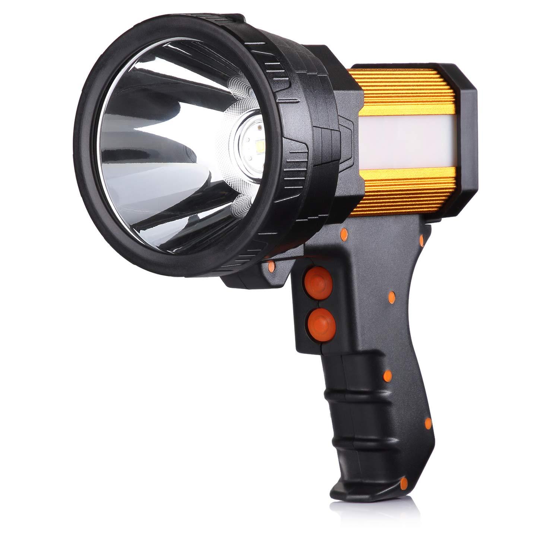 BUYSIGHT Rechargeable spotlight,Spot lights hand held large flashlight 6000 lumens handheld spotlight Lightweight and Super bright flashlight Outdoor spotlight flashlight Camping Flood searchlight by BUYSIGHT