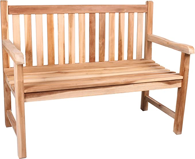 CHICREAT - Banco de dos asientos de madera de teca, banco de jardín de madera de teca, aproximadamente 100 cm de ancho: Amazon.es: Jardín