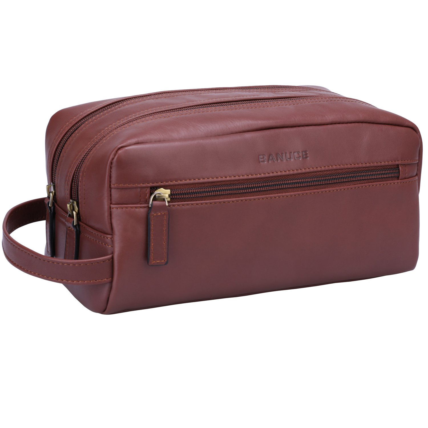 Banuce Vintage Full Grain Italian Leather Toiletry Bag for Men Women Hanging Travel Organizer Kit