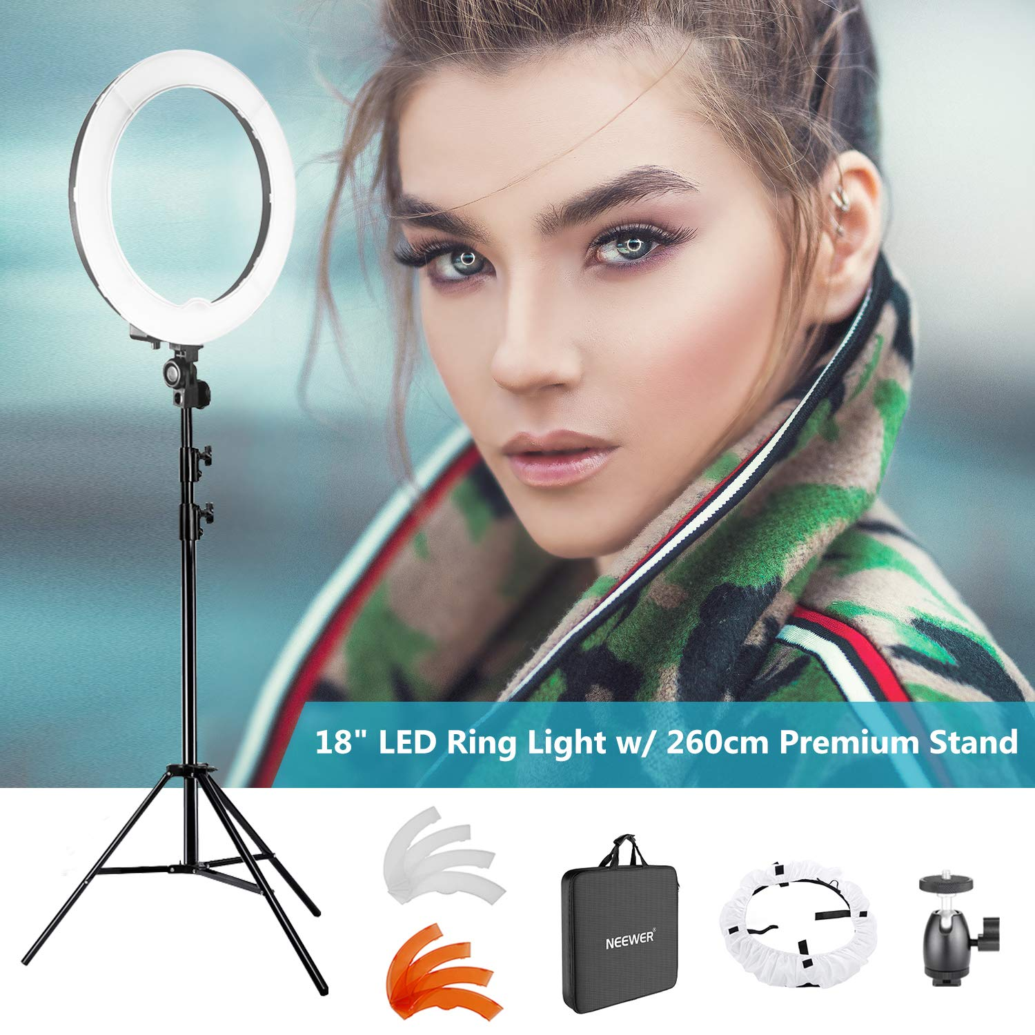Neewer 18'' LED Ring Light Dimmable for Camera Photo Video,Make Up, YouTube, Portrait and Photography Lighting, Includes(1) Ring Light+(1) 9 Feet Heavy Duty Light Stand+(1) Soft & Orange Filter Set by Neewer