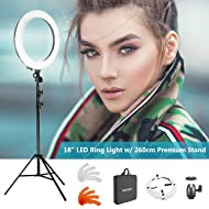 """Neewer 18"""" LED Ring Light Dimmable for Camera Photo Video,Make Up, YouTube, Portrait and Photography Lighting, Includes(1) Ring Light+(1) 9 Feet Heavy Duty Light Stand+(1) Soft & Orange Filter Set"""