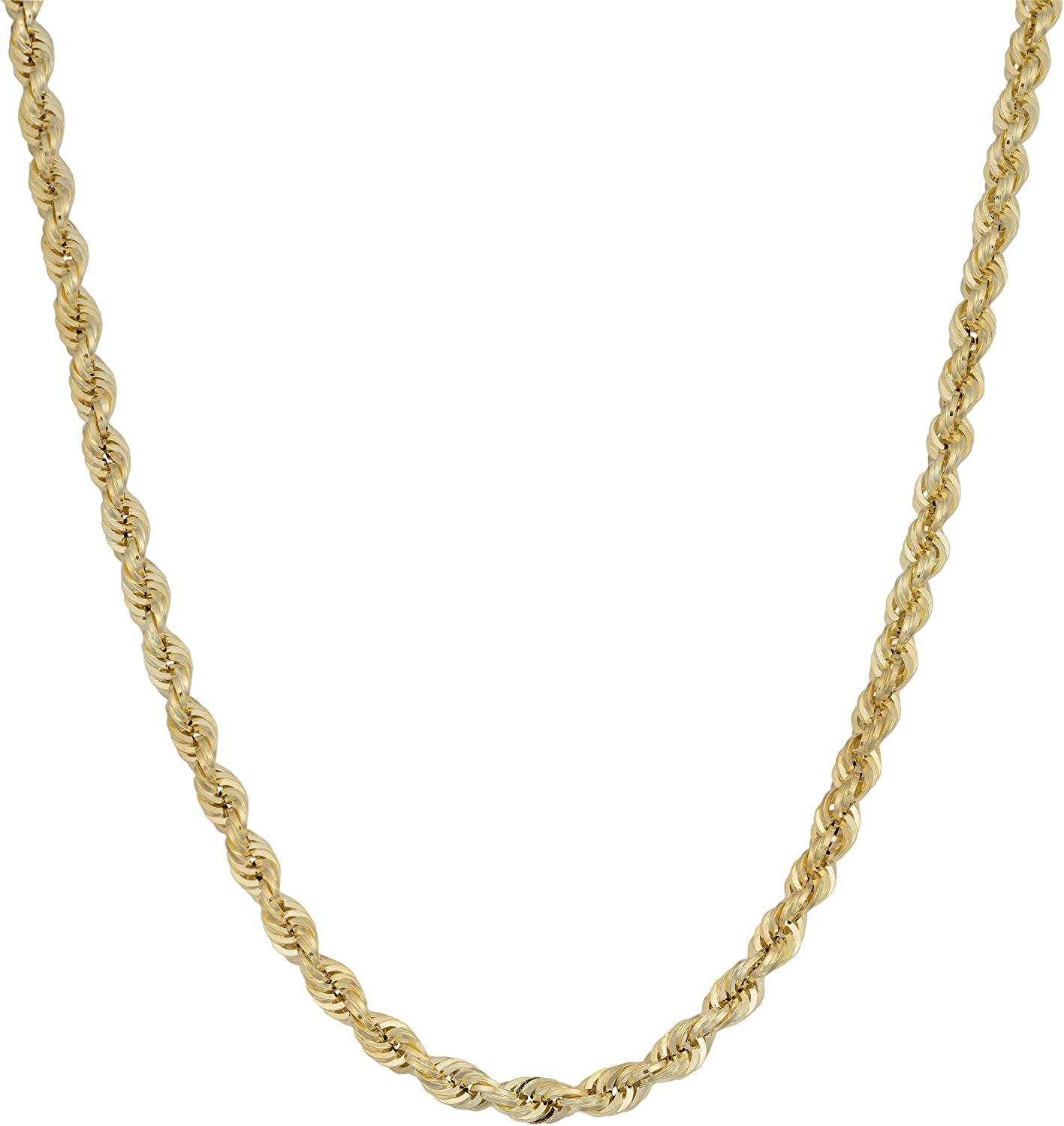 ROPE CHAIN 24 INCHES LONG 10KT GOLD HALLOW ROPE CHAIN 2.90 MM WIDE