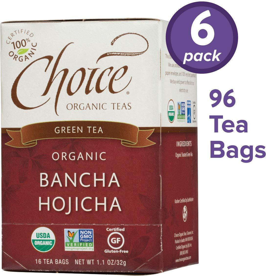 Choice Organic Teas Green Tea, 6 Boxes of 16 (96 Tea Bags), Bancha Hojicha