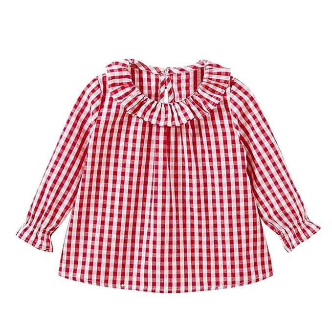 21cfcba88 BBsmile Vestido de niña Niño pequeño Kids Girls Manga Larga algodón  Camiseta Cheque a Cuadros Tops Blusa Ropa