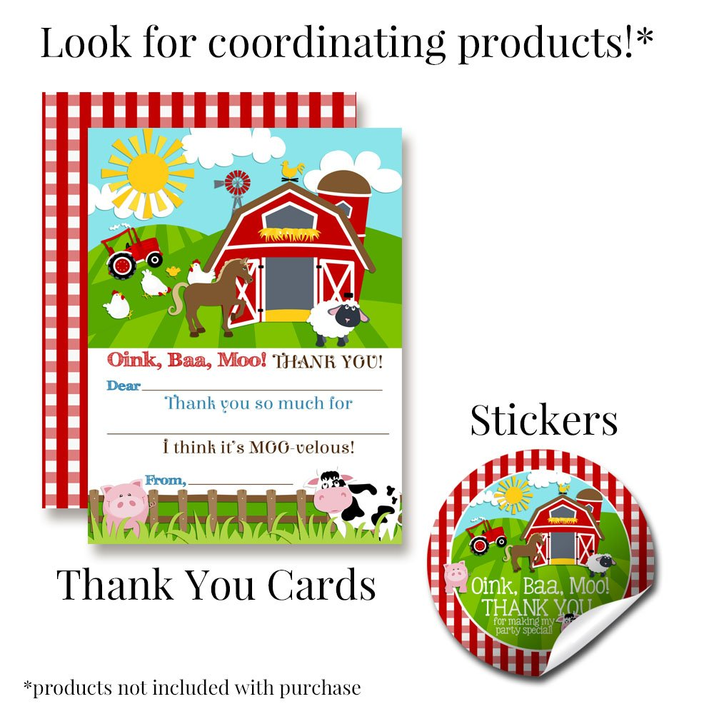 Barnyard Bash Farm and Barn Themed Birthday Party Invitations, Ten 5''x7'' Fill In Cards with 10 White Envelopes by AmandaCreation by Amanda Creation (Image #7)