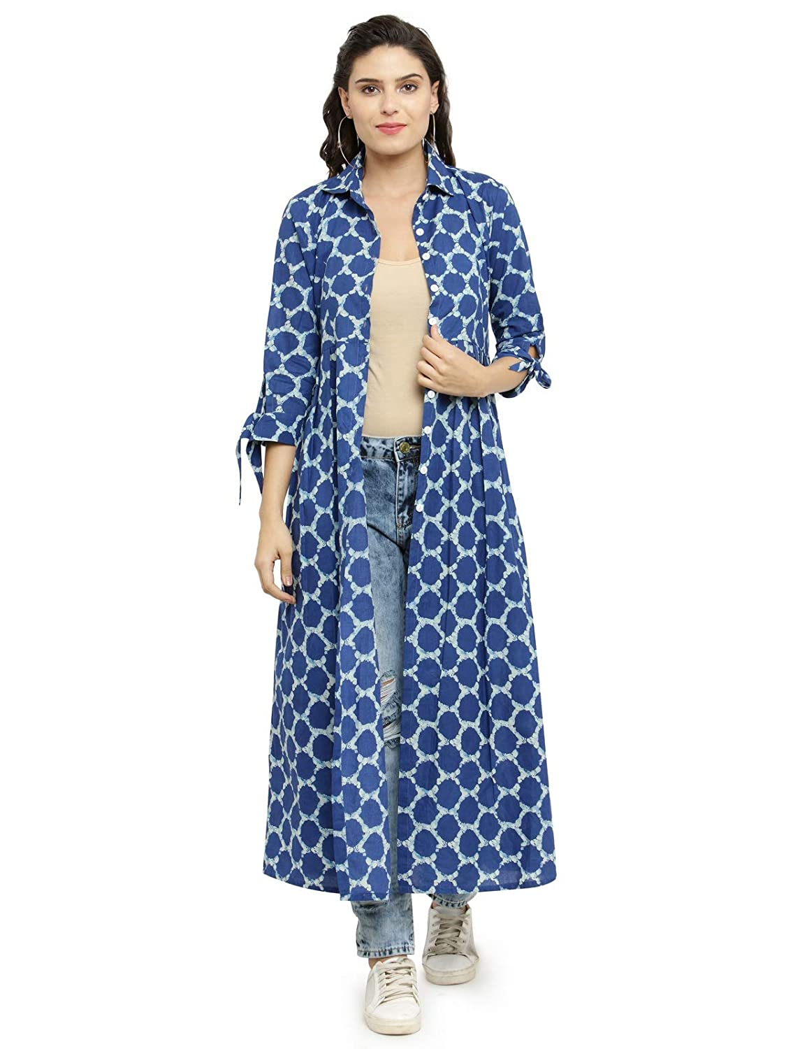 INDIBELLE Cotton Printed Long Cape (IBCP226OR_S-$P)