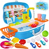 aovo Kids Play Sink Children Electric Dishwasher Kitchen Toys Set with Running Water and Automatic Water Cycle System Pretend