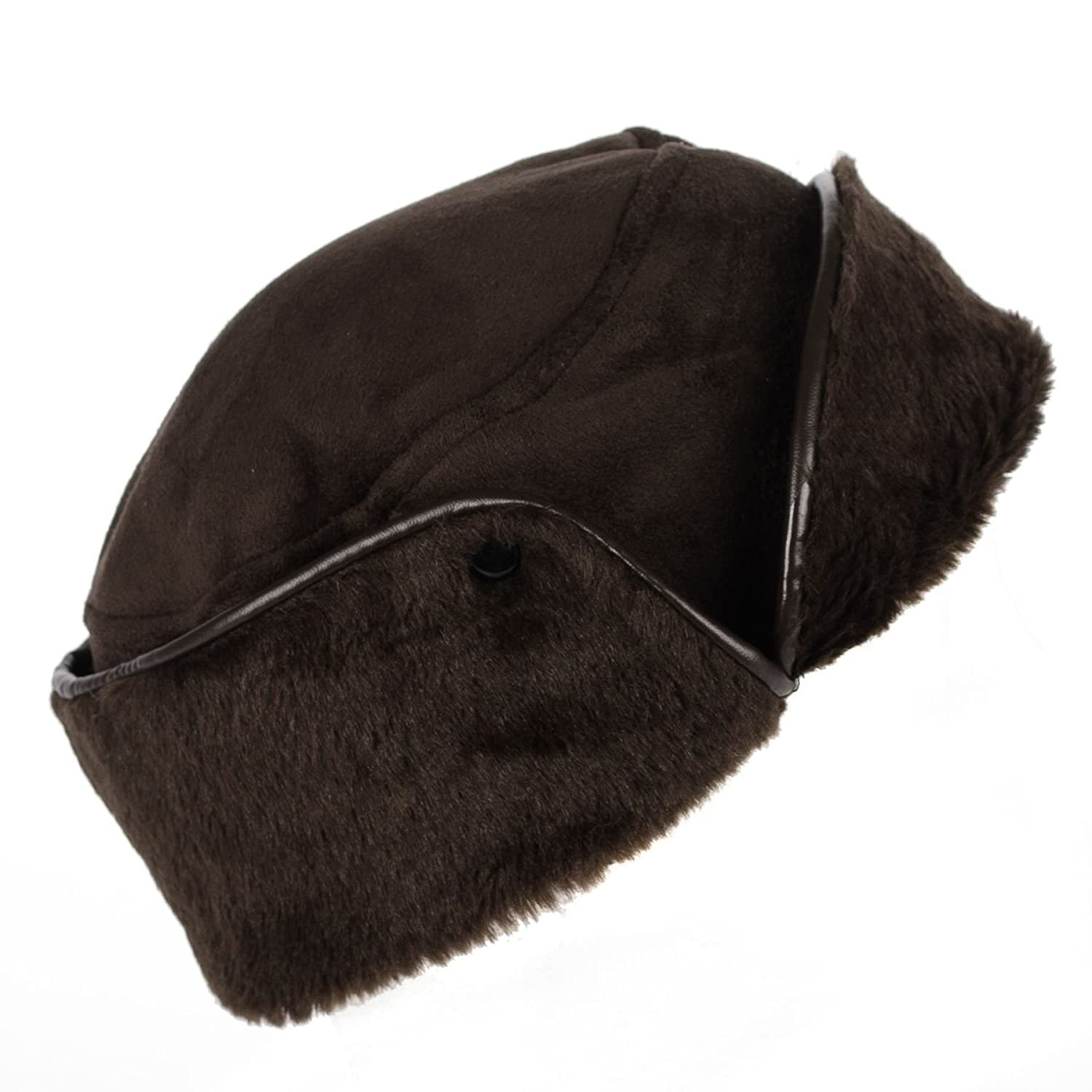 Hat To Socks Ladies Womens Faux Sheepskin/Suede & Fur Cossack Hat Brown