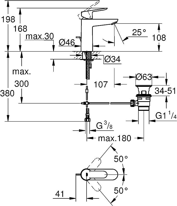 Cromo Taglia M 23450001 Scarico a Saltarello Grohe Concetto Miscelatore Monocomando per Lavabo
