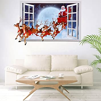 Exceptional Christmas Wall Decals Stickers,3D Style Santa Claus Carrying Gifts Wall  Decor Removable DIY Wall