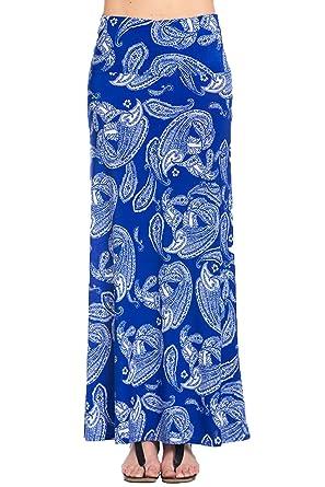 Tabeez Women's Printed Long Foldover Jersey Maxi Skirt at Amazon ...