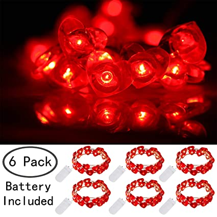 los angeles 2fbb1 b599e Ehome Heart Shaped String Lights, 6 Pack Valentines Day Decorations Lights,  7.2 ft 20 LEDs Fairy Lights Battery Operated, Waterproof Silver Copper ...