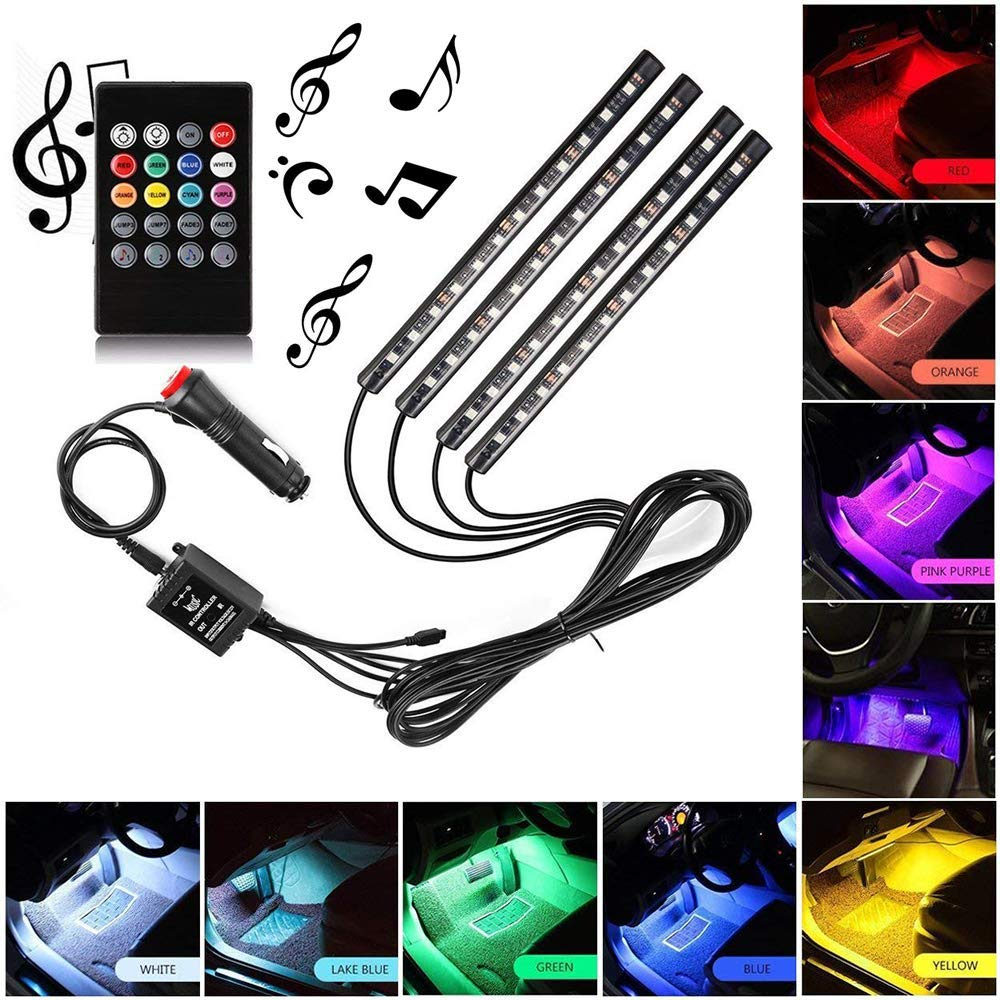 Sanhezhong Car LED Strip Light, 4pcs 48 LED DC 12V Multicolor Music Car Interior Light LED Under Dash Lighting Kit with Sound Active Function, Wireless Remote Control, Car Charger