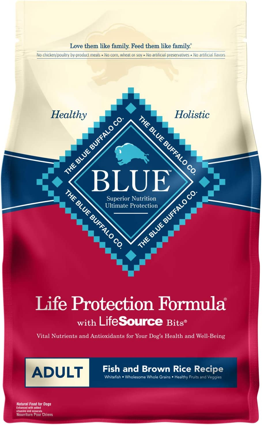 Blue Buffalo Life Protection Formula Natural Adult Dry Dog Food, Fish and Brown Rice 15-lb