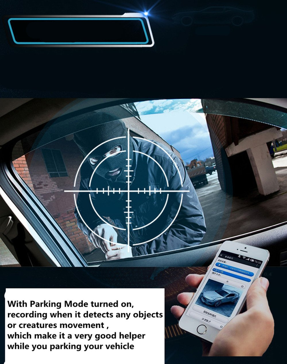 4G Car Dash Cam 10.0'' Touch GPS Navigation WIFI Bluetooth Dual Lens Rearview Mirror Camera Android 5.1 Vehicle Video Recorder with Night Vision, 170-degree Wide Angle Lens with G-Senor by sunray (Image #5)