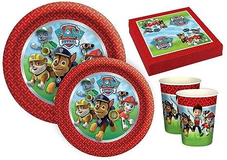"""Lote de Cubiertos Infantiles Desechables Decorativos """"Patrulla Canina"""" (8 Vasos, 8"""