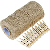Anpro 320 Feet Jute Twine and 50 Pcs 3.5cm Wood Clothespins, Natural Jute Twine Arts Crafts Gift Christmas Jute Twine Packing Industrial Twine Materials Durable String for Gardening Applications