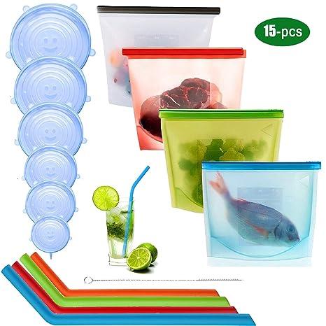 Bolsa de conservación de alimentos de silicona reutilizable de 4 piezas,6 unids Tapón de Silicona Tapas Reutilizables Tapas,4 pajitas de silicona,1 ...
