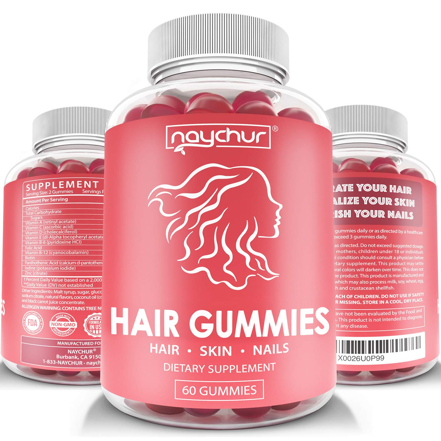 Hair Growth Vitamins Biotin Gummies - Hair Skin and Nails Vitamins for Faster Hair Growth - Hair Loss Treatments Care Thickening Products for Women Men - Thinning Hair Beard Regrowth Supplement Gummy by NAYCHUR
