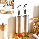 Simonshop 350 mlガラスボトル鋼油油滴ポットソースビネガーボトル (Style A)