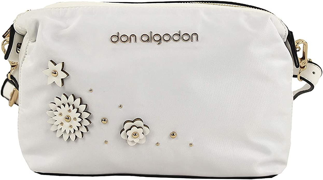 Don algodón Urban, Bolso Bandolera Mujer Flores, Blanco, 25x16x11 ...