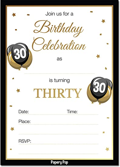 30th Birthday Invitations With Envelopes 30 Count