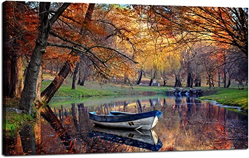 Landscape Painting On Canvas Fabric Modern Large Wall Art Boat Surrounding a Lake Contemporary Giclee Framed Autumn Fall Time Sadness Season Artwork Picture Print to Photo Decor Home 30 Hx40 W