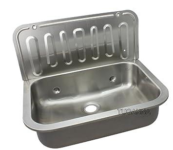 Waschbecken Waschküche Edelstahl ausgussbecken edelstahl wandmontage waschbecken 367x495x325 amazon