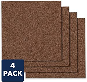 "Quartet Cork Board Bulletin Board Tiles, 12"" x 12"", Corkboard, Mini Wall Bulletin Boards, Decorative Pin Boards for Home Office Decor, Home School Message Board, Modular, Dark Brown, 4 Pack (15050Q)"