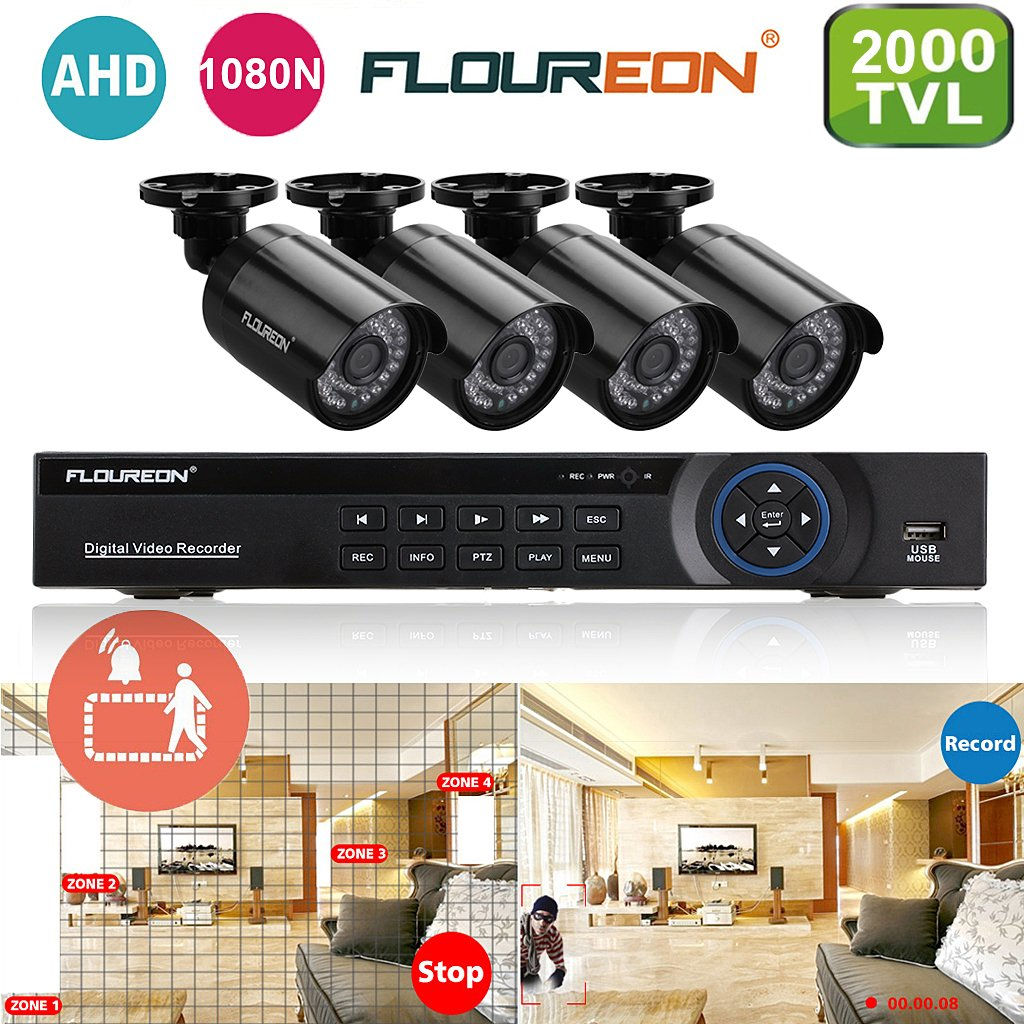 Floureon - Kit de 4 Camaras de Vigilancia Seguridad (H.264 CCTV DVR P2P 8CH AHD 1080N y 4 Camaras IP 960P 1.3Mp Impermeable, Circuito Cerrado, Ir-cut, ...