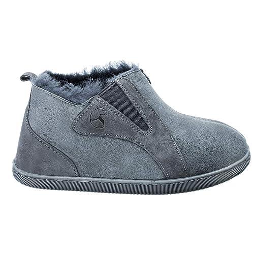 ESTRO Zapatillas De Casa Mujer Invierno Piel De Carnero Pantuflas Casa Mujer Piel Genuina Lana Royale: Amazon.es: Zapatos y complementos